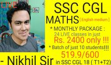 SSC Quantitative Aptitude : T-10 batch of online live classes (JUST 10 students a batch !)